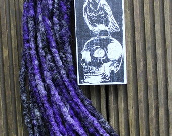 Mystify DE x10 Crochet Synthetic Dreads- black purple grey