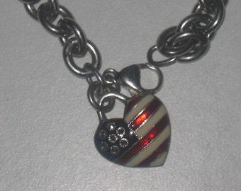 "Sterling Silver Bracelet Charm USA Flag 7.5"""