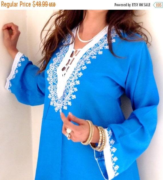 CIJ Sale Blue Traditional Marrakech Tunic Shirt- Beautiful Loungewear, Beachwear,Spa wear, Coverup, Birthday, Moroccan tunics, boho, Honeymo