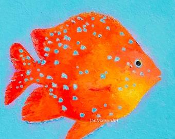 Fish Painting Bathroom Art Canvas Art Tropical Fish Bathroom Decor Aquarium