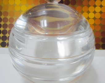 LUCITE ICE BUCKET Alessandro Albrizzi  era Super thick Round  mid century modern Hollywood regency Glam art deco