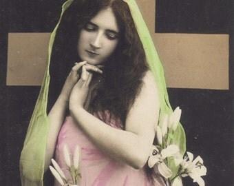 Art Deco Madonna, Vintage French Postcard circa 1910 by ELD of Paris