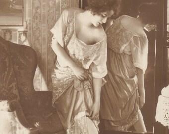 Risque German Boudoir Image with Tiger Skin, circa 1906