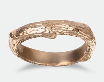 Wide Men's Tree Bark Wedding Band, Twig Wedding Ring, Rose Gold Ring