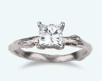 Princess cut white sapphire Twig Engagement Ring
