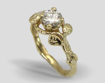 Yellow gold Leaves moissanite engagement ring twig nature inspired art nouvue whimsical ring