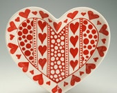 Large Heart Shaped Dish Red and White Hand Painted Anniverary, Wedding, Valentine Gift
