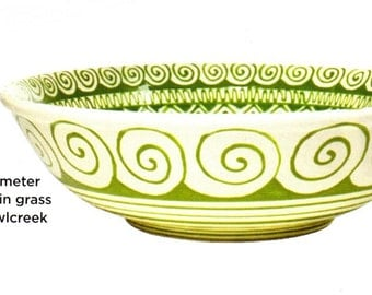 As Seen in December 2015 HGTV Magazine - Grass Green Serving Bowl Hand Painted
