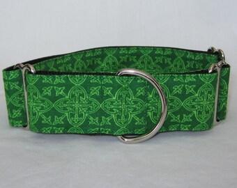 Celtic Martingale Dog Collar - 1.5 or 2 Inch - green irish symbol