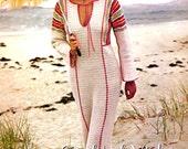 Vintage 1970s Crochet Pattern Maxi Caftan Dress Tunic Boho Digital Download PDF