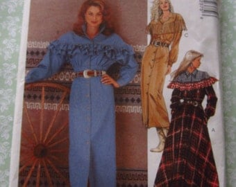 Misses Country Western Style Dresses with Raglan Sleeves Sizes 14 16 18 UNCUT Vintage 1990's McCalls Pattern 7237 Old West Brand