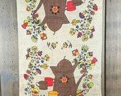 Vintage Linen Dish Towel, Brown Coffee Pot and Folk Art Flowers, Light Brown Background, Kitchen Pub Tea Towel