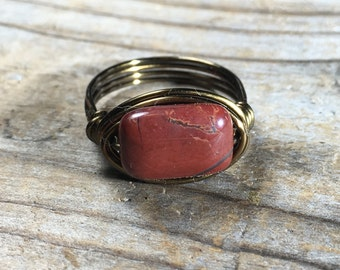 bohemian red Rainbow Jasper gemstone stone Ring - size 8 wire wrapped - antique brass / gold - handmade jewelry men women natural