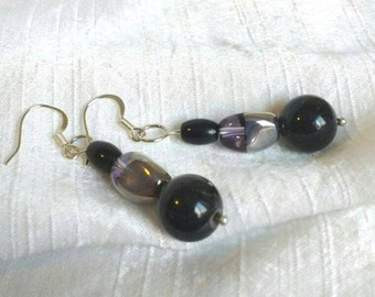 Earrings -Silver and Black Dangle