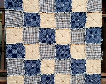 Primitive Star Lap Rag Quilt in Navy Blue, Rustic Americana Quilt with Buttons,  Country Table Cover, Farmhouse Quilt, Handmade in NJ