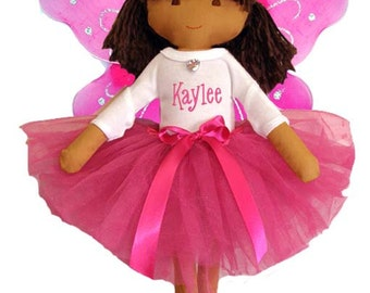 Personalized Fairy Princess Ballet Soft Dolly Hot Pink Tutu, Wings & Toe Shoes