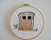 Owl Hand Embroidery Cute Owl Hoop Embroidery 6 Inch Hoop Embroidery Owl Picture Bird Wall Hanging Owls Hoot Owl