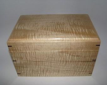 "Keepsake Box. Tiger Maple Keepsake Box. 9.25"" x 6"" x 5.5"". Handcrafted Wooden Memory Box."
