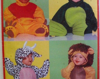 Costume Pattern for Babies - Bear, Frog, Cow and Lion - Butterick 5657 - Sizes S-M-L-XL, Weight 13 - 29 Lbs, Uncut