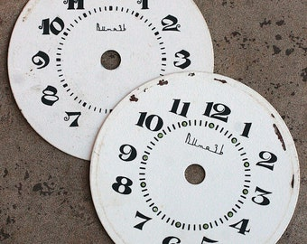 Vintage Alarm Clock Faces -- metal -- set of 2 -- D6