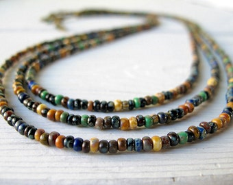 Seed Bead Necklace,  Multi Strand, Bohemian Bijoux, Boho Jewelry, Czech Picasso Glass, Southwestern Colors, Triple Layer, Festival Fashion