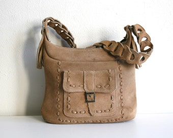SALE Raw Leather Boho Shoulder Bag