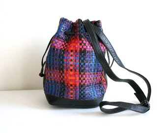 Woven Colored Leathter Bucket Bag