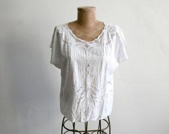 White Lace Cutout Blouse