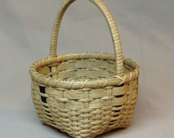 SALE - Cute Little Hand Woven Basket, Navy Blue Accents and Wrapped Handle