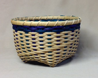 Hand Woven Cat Head Basket, Blue, Teal and Purple Accent Colors