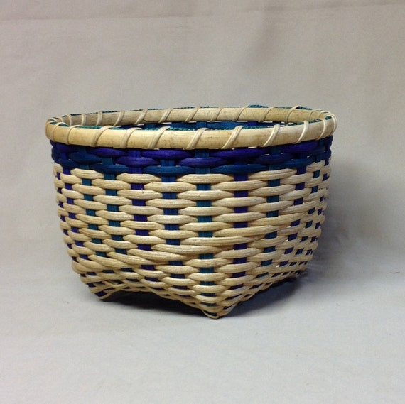 How To Weave A Cat Basket : Hand woven cat head basket blue teal and purple accent