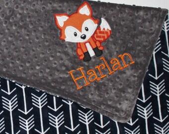 Personalized Fox Blanket, Navy Arrows Blanket, Navy and Gray, Double Minky, Fox blanket, Baby Blanket, Custom Blanket