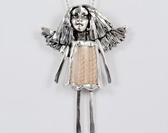 Angel Oriel Loves The Ocean - Sterling Silver And Sea Shell Jewelry Pendant - Ocean Angel Empowerment Art Jewelry - 2148