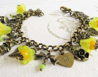 Personalized yellow bracelet, charmbracelet, bronze vintage style jewelry, initial jewelry, for her, Europe