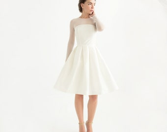 Long Sleeve Knee Length Civil Wedding Dress - Lotta Dress