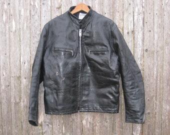 Vintage Cafe Racer Leather Jacket Mens 42
