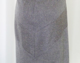 Pendleton Silk Rayon Wool Skirt Micro B&W Tweed Chevron Back New Old Stock Unworn Size 12