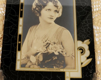 Art Deco Glass Picture Frame, Reverse Painted Small Photo Frame, Black & Ivory Cream, 7 x 5 inches