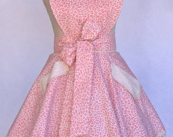 Women's Apron, Retro Twirl Skirt, Peach, Pink ,Leopard Print Fabric, Sweetheart Bib Apron