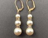 stacked pearl earrings, ivory pearl earrings, pearl  and crystal earrings, gold tone pearl, cream pearl drop earrings, mother of bride gifts