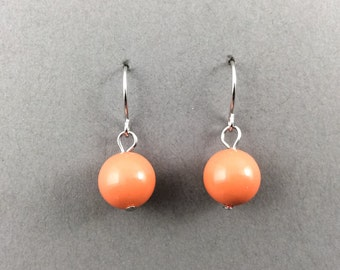 Coral Earrings In Silver With Coral Swarovski Crystal