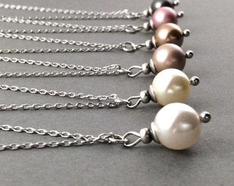 bridesmaid gift | bridesmaid jewelry | bridesmaid necklace | bridal pearl necklace | white pearl necklace | bridal jewelry | vintage wedding