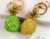 Pineapple Resin Alloy Gold Rhinestone Key Chain Ring Keychain - Green / Yellow