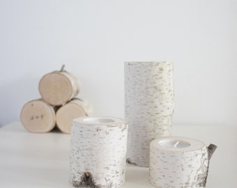 natural white birch wood candle holders - set of 3  heights, log candle holders,  rustic wooden candle holders, tree branch
