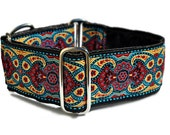 Martingale Collar, Martingale Dog Collar, Wide Dog Collars, Greyhound Collar, Great Dane Collar, Dog Gift - Red & Blue Marseilles Collar -2""