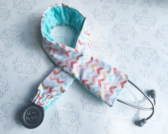 Padded Stethoscope Cover - RN, Nurse, Doctor, EMT, Vet Tech, Medical Assistant - Nurse Gift - Coral Aqua and Gold Chevron