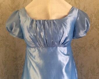 Regency Dress, Ball Gown. Jane Austen. Pale Blue faux silk taffeta
