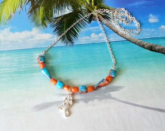 Mermaid glass beads necklace coral turquoise glass beads and silver rolo style chain necklace