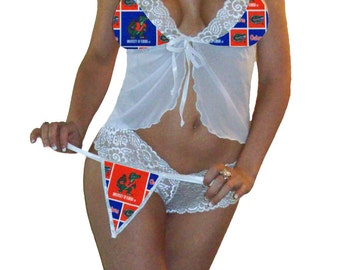 NCAA Lingerie Florida Gators Sexy White Cami Top and Lace Booty Shorts Set Plus FREE Matching G-String - Size S/M - Ready to Ship