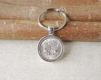 1966 Sixpence Keyring, Lucky Sixpence Coin Resin Keychain, 1966 Birthday, 1966 Anniversary, 1966 Date Year, Coin in Resin, UK, 2022
